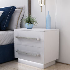 LED Bedside Table Cabinet In White High Gloss Chest Drawers Bedroom Furniture UK