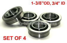 "LOT OF 4, FLANGE BEARINGS 1-3/8""OD, 3/4""ID, GO KARTS, IH-384881, CARTS, DOLLIES!"