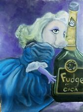 Acrylic painting on canvas by original artist - Still Life of Doll and Bottle