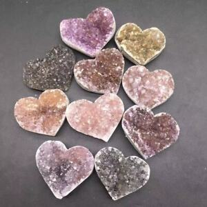 Natural Amethyst Crystal Quartz Cluster Geode Healing Heart Decoration 1Pc