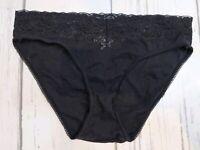 Vintage Black Cotton Lace Stretchy Hi Cut Bikini Panty Panties 7 Large