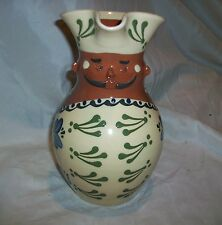 Sundborn Karlsbyhedens Krukmakeri Swedish Pottery Man Face Pitcher Red Ware Clay