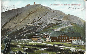 """AK  """" Die Riesenbaude/Schneekoppe """"  Böhmen, Riesengebirge /  gelaufen"""