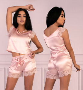 LIVCO CORSETTI Veilet Luxury Super Soft Satin Cami Top and Matching Shorts Set