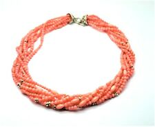 Pink Coral Multi-strand Necklace with Sterling Silver Clasp