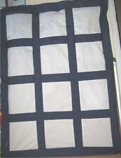 Navy Blue Quilt Top W Blocks Quilting Embroidery Appliques, X-Stitch, Crafts