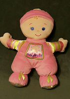 Fisher Price Brilliant Basics Pink Baby's First 1st Doll Plush Rattle Soft Toy
