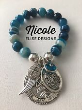 Blue Stripe Faceted Agate, St Christopher, Guardian Angel Wing Crystal Cross Eye