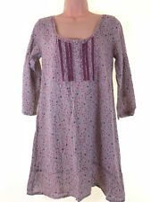 WHITE STIFF purple pink stripe spotted smock tunic kaftan dress size 10 euro 38