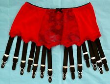 Red Suspender Belt 14 Metal garters Large lace Front BNWT