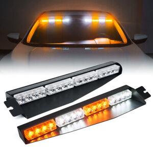Xprite 2x Windshield LED Strobe Light Bar Interior Emergency Hazard Warning Lamp