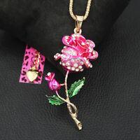 Betsey Johnson Women's Enamel Crystal Rose Flower Pendant Long Chain Necklace