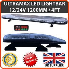 """LED Light Bar 1200mm 1.2 Metre 48"""" 12v 24v Amber Flashing Strobe Beacon Recovery"""