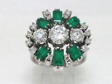 Juwelen Ring 585 Weißgold 14Kt Gold Brillanten  Smaragde  Zertifikat