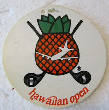 3 OLDER PLASTIC GOLFING BAG TAGS-HAWAIIAN OPEN, WALTER HAGEN & RAVEN GOLF CLUB