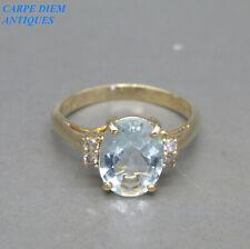 STUNNING 1.87CT AQUAMARINE & DIAMOND SOLID 14K GOLD SOLITAIRE RING UK I & 4 1/4