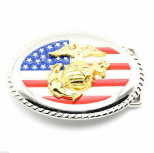 USMC Marine Corp USA Flag Metal Belt Buckle