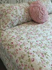 Queen Double Bed Cottage Pink Coverlet Bedspread Shabby Chic Linens n Things