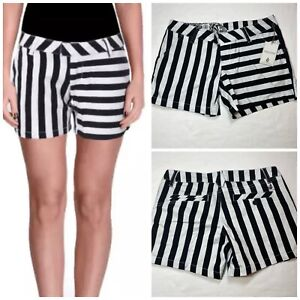 "Volcom Juniors Frochickie Striped Flat Front Casual Shorts Black White 5"" Size 1"