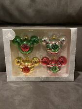 Disney Parks Mickey Mouse Indent Christmas Ornament Set of 4