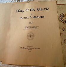 Antique Vicomte De Maiollo Maggiolo Map Of The World 1527 Rare 1905 Edition