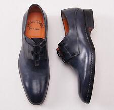 NIB $960 SANTONI Fatte a Mano Antiqued Navy Blue Leather Derby US 11 D Shoes