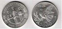 2001 San Marino Lire 5000 Argento La Pace Fior Di Conio Unc