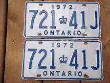 ONTARIO LICENSE PLATE 1972 721 41J SET PAIR VINTAGE OLD CAR SHOW COLLECTOR CROWN