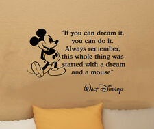Disney Mickey Mouse IF YOU CAN DREAM IT vinyl wall art decal sticker quote 20.5i