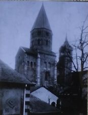 Clocher de l'eau Benite, Abbey Church, Cluny, France, Magic Lantern Glass Slide