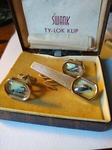 Original Box Vintage Symbol of the Arts Masks Swank Cuff Links in Silver Tone