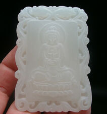Antique Plate Pendant Hetian Jade Lucky Charm Buddha Guanyin Antique