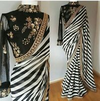 Black & White Indian Bollywood Designer Georgette Saree Embroidery Sari Dress NW