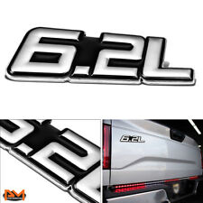 """6.2L"" Polished Metal 3D Decal Silver&Black Emblem For Chevrolet/Cadillac/Ford"