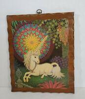 "Vintage Wood Plaque Wall Hang Art Decoupage UNICORN Mystical Magical 9.5x11.5"""