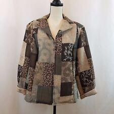 DRESSBARN Woman 1X Tapestry Jacket Full Zip Brown/Beige Patchwork Career Blazer