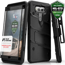 For LG V20 Case Cover Tempered Glass Kickstand Holster Armor FLAGSHIP