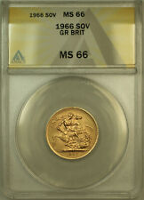 1966 Great Britain Gold Sovereign Coin ANACS MS-66 Gem BU UNC (A)