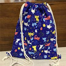 Cotton Canvas Drawstring Backpack Book Shoes Bag Travel Bag Print Color Cat B#