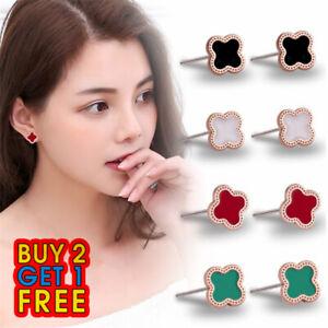 Fashion 1 pair Women's Quatrefoil Clover Lucky Design Stud Earrings UK Seller