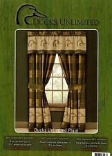 "Ducks Unlimited Plaid Lined Curtains / Drapes w/valance Duckhead Logo 42"" x 84"""