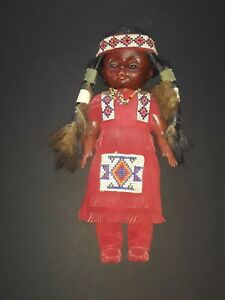 Antique Native American Zuni Trade Beaded Leather Indian Doll Unique Folk Art