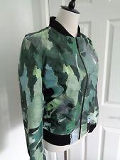 BNWT HUNTER Original Green Botanical 3 Layer Nylon Bomber Jacket size 12