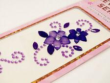 3xMix Flowery Diamante Gem Seal Stick On Rhinestone DIY Card Decal Craft Sticker