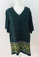 Carolina Colours Plus Women's Blouse Short Sleeve V-Neck Blue Green Paisley 22W