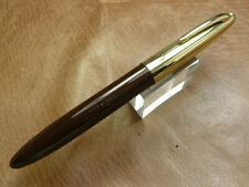 SHEAFFER VACUUM FILL FOUNTAIN PEN 14K NIB BROWN WITH GOLD FILLED CAP