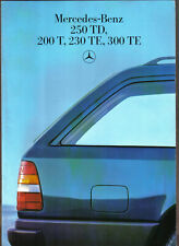 Mercedes Benz W124 Estates 200 230 250 300 T TE TD Turbo 1986 UK Sales Brochure