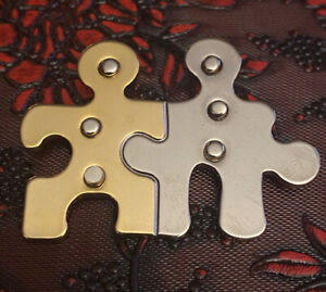 Brooch Pin-puzzle PCs- Silver & Gold- Autism- Togetherness-friendship