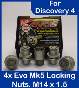 4x Evo Locking Nuts M14 x 1.5 With Key For Land Rover Discovery 4