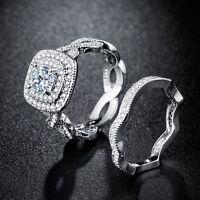 Women 925 Silver Jewelry White Sapphire Gorgeous Wedding 2pc Ring Size 6-10